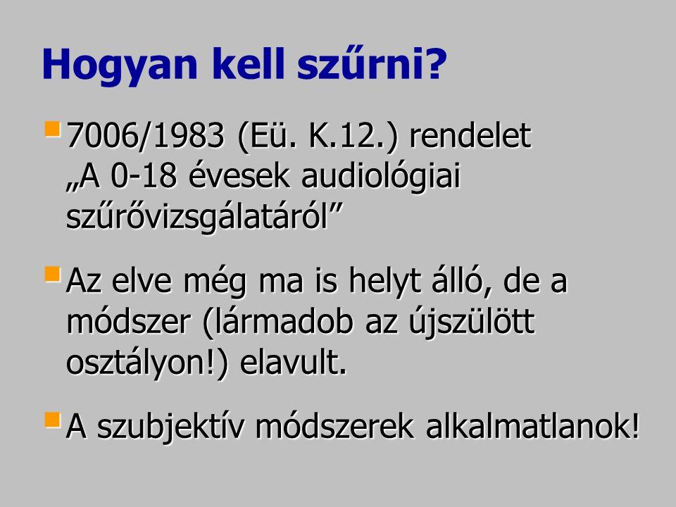 """Hogyan kell szűrni?  7006/1983 (Eü. K.12.) rendelet """"A 0-18 évesek audiológiai szűrővizsgálatáról""""  Az elve még ma is helyt álló, de a módszer (lárm"""