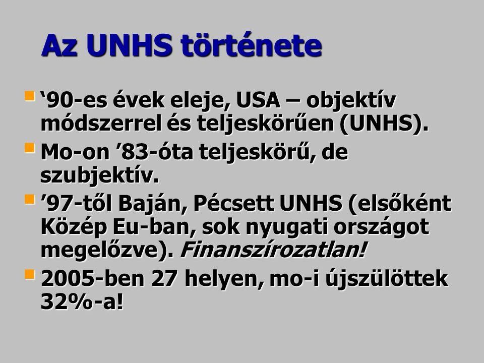Az UNHS története  '90-es évek eleje, USA – objektív módszerrel és teljeskörűen (UNHS).  Mo-on '83-óta teljeskörű, de szubjektív.  '97-től Baján, P
