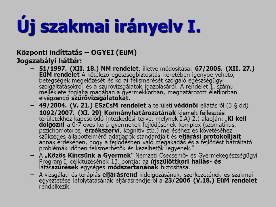 Új szakmai irányelv I. Központi indíttatás – OGYEI (EüM) Jogszabályi háttér: –51/1997. (XII. 18.) NM rendelet, illetve módosítása: 67/2005. (XII. 27.)