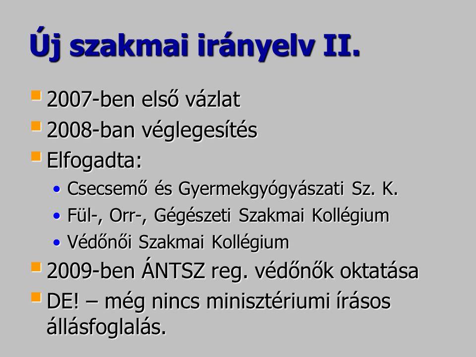 Új szakmai irányelv II.  2007-ben első vázlat  2008-ban véglegesítés  Elfogadta: •Csecsemő és Gyermekgyógyászati Sz. K. •Fül-, Orr-, Gégészeti Szak