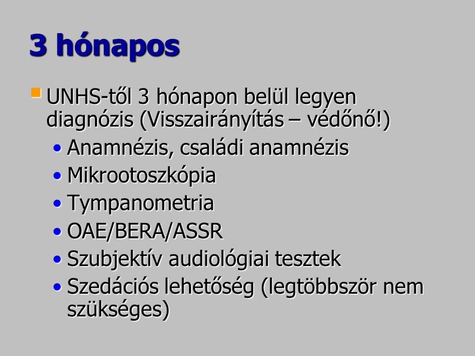 3 hónapos  UNHS-től 3 hónapon belül legyen diagnózis (Visszairányítás – védőnő!) •Anamnézis, családi anamnézis •Mikrootoszkópia •Tympanometria •OAE/BERA/ASSR •Szubjektív audiológiai tesztek •Szedációs lehetőség (legtöbbször nem szükséges)