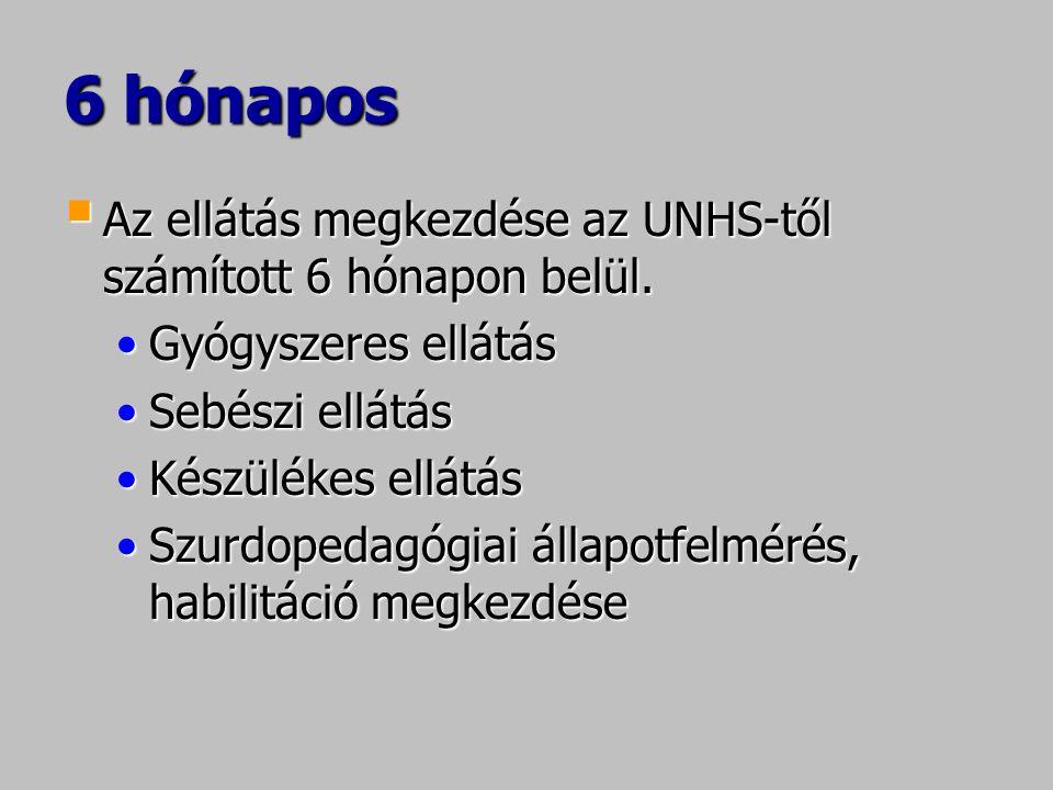6 hónapos  Az ellátás megkezdése az UNHS-től számított 6 hónapon belül. •Gyógyszeres ellátás •Sebészi ellátás •Készülékes ellátás •Szurdopedagógiai á