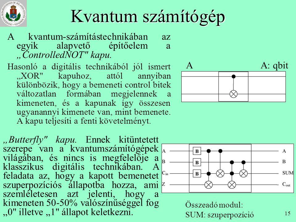 """14 Kvantum számítógép A hagyományos számítógépeknél használt digitális technika a Boole algebrán alapszik. Az egyes bitek """"0"""