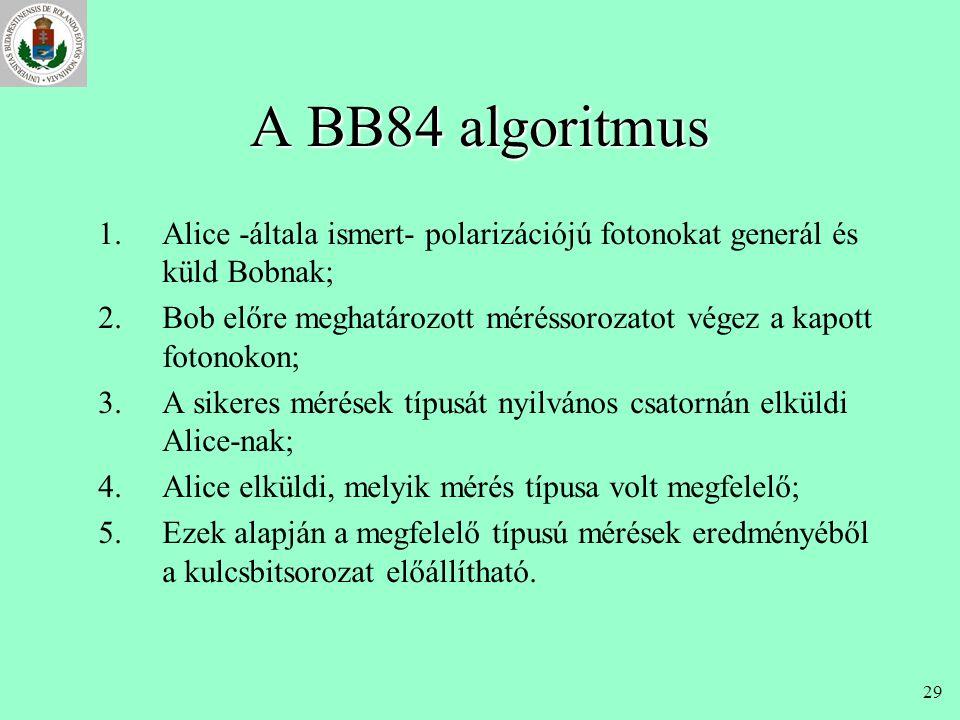 28 BB84 (Bennett-Brassard, 1984) •cél: kulcscsere (titkosan, későbbi használatra) •eszközök: –(lehallgatható) kvantumcsatorna –polarizált fotonok –hag