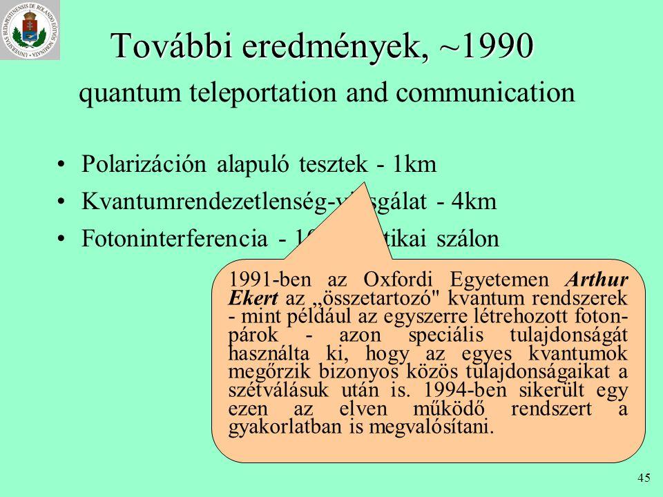 44 Megvalósítás •Első próbálkozások: 1982-84 •Működő prototípus: 1989. IBM Charles Bennett 1989-ben Montreálban, az IBM laboratóriumában négy kollégáj