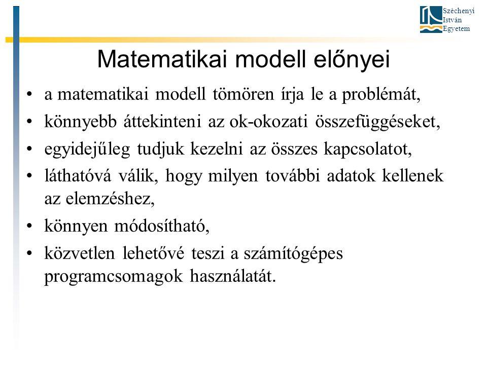 Széchenyi István Egyetem Matematikai modell előnyei •a matematikai modell tömören írja le a problémát, •könnyebb áttekinteni az ok-okozati összefüggés