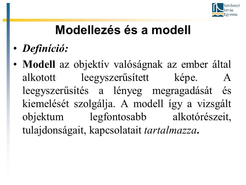 Széchenyi István Egyetem Modellezés és a modell •Definíció: •Modell az objektív valóságnak az ember által alkotott leegyszerűsített képe.