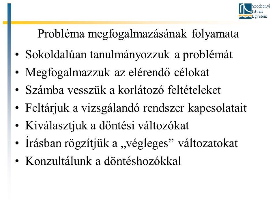 """Széchenyi István Egyetem Probléma megfogalmazásának folyamata •Sokoldalúan tanulmányozzuk a problémát •Megfogalmazzuk az elérendő célokat •Számba vesszük a korlátozó feltételeket •Feltárjuk a vizsgálandó rendszer kapcsolatait •Kiválasztjuk a döntési változókat •Írásban rögzítjük a """"végleges változatokat •Konzultálunk a döntéshozókkal"""