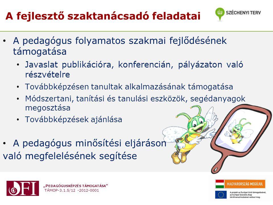 """""""P EDAGÓGUSKÉPZÉS TÁMOGATÁSA TÁMOP-3.1.5/12 -2012-0001 • A pedagógus folyamatos szakmai fejlődésének támogatása • Javaslat publikációra, konferencián, pályázaton való részvételre • Továbbképzésen tanultak alkalmazásának támogatása • Módszertani, tanítási és tanulási eszközök, segédanyagok megosztása • Továbbképzések ajánlása • A pedagógus minősítési eljáráson való megfelelésének segítése A fejlesztő szaktanácsadó feladatai"""