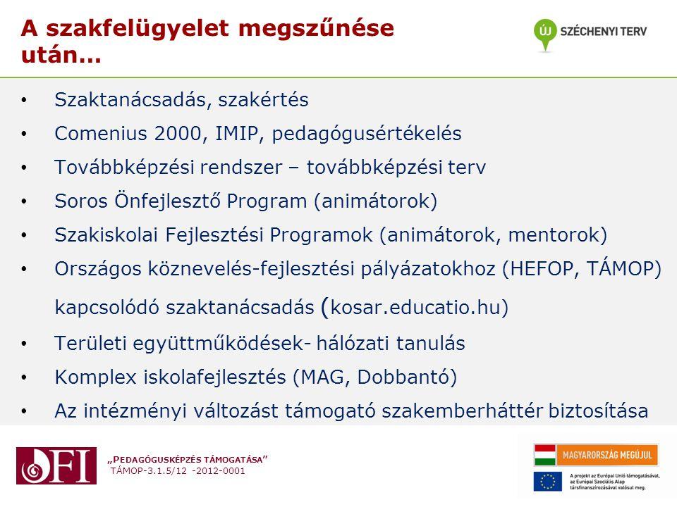 """""""P EDAGÓGUSKÉPZÉS TÁMOGATÁSA TÁMOP-3.1.5/12 -2012-0001 A szakfelügyelet megszűnése után… • Szaktanácsadás, szakértés • Comenius 2000, IMIP, pedagógusértékelés • Továbbképzési rendszer – továbbképzési terv • Soros Önfejlesztő Program (animátorok) • Szakiskolai Fejlesztési Programok (animátorok, mentorok) • Országos köznevelés-fejlesztési pályázatokhoz (HEFOP, TÁMOP) kapcsolódó szaktanácsadás ( kosar.educatio.hu) • Területi együttműködések- hálózati tanulás • Komplex iskolafejlesztés (MAG, Dobbantó) • Az intézményi változást támogató szakemberháttér biztosítása"""