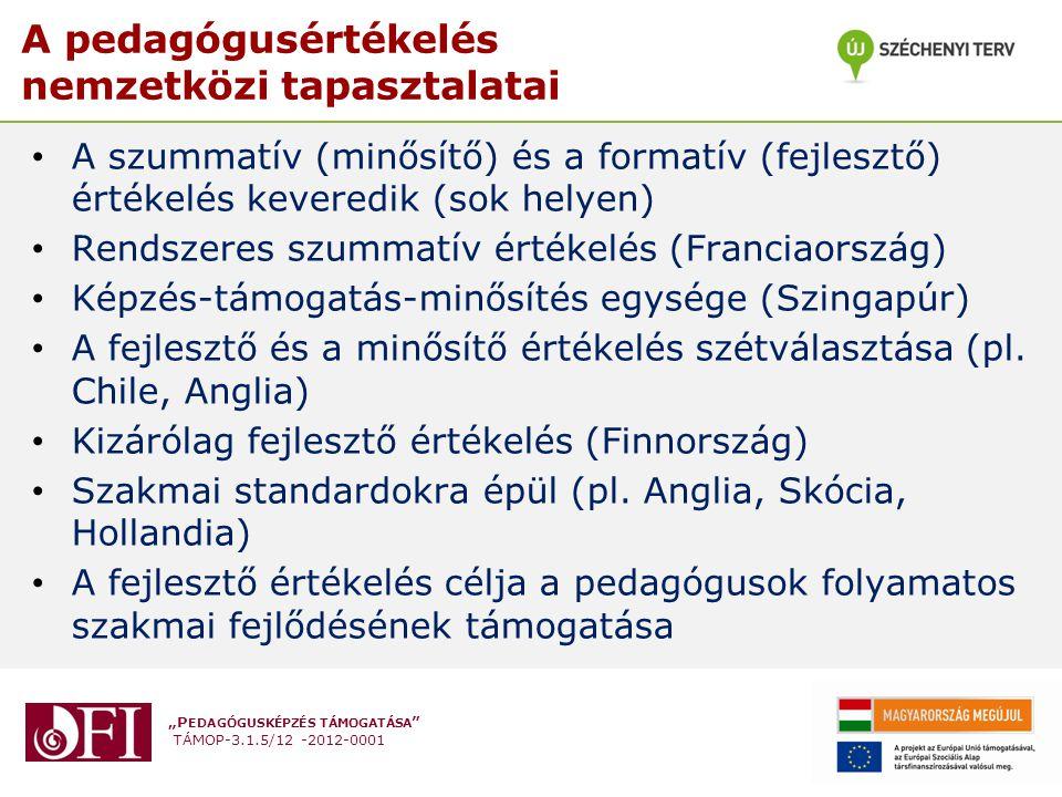 """""""P EDAGÓGUSKÉPZÉS TÁMOGATÁSA TÁMOP-3.1.5/12 -2012-0001 A pedagógusértékelés nemzetközi tapasztalatai • A szummatív (minősítő) és a formatív (fejlesztő) értékelés keveredik (sok helyen) • Rendszeres szummatív értékelés (Franciaország) • Képzés-támogatás-minősítés egysége (Szingapúr) • A fejlesztő és a minősítő értékelés szétválasztása (pl."""
