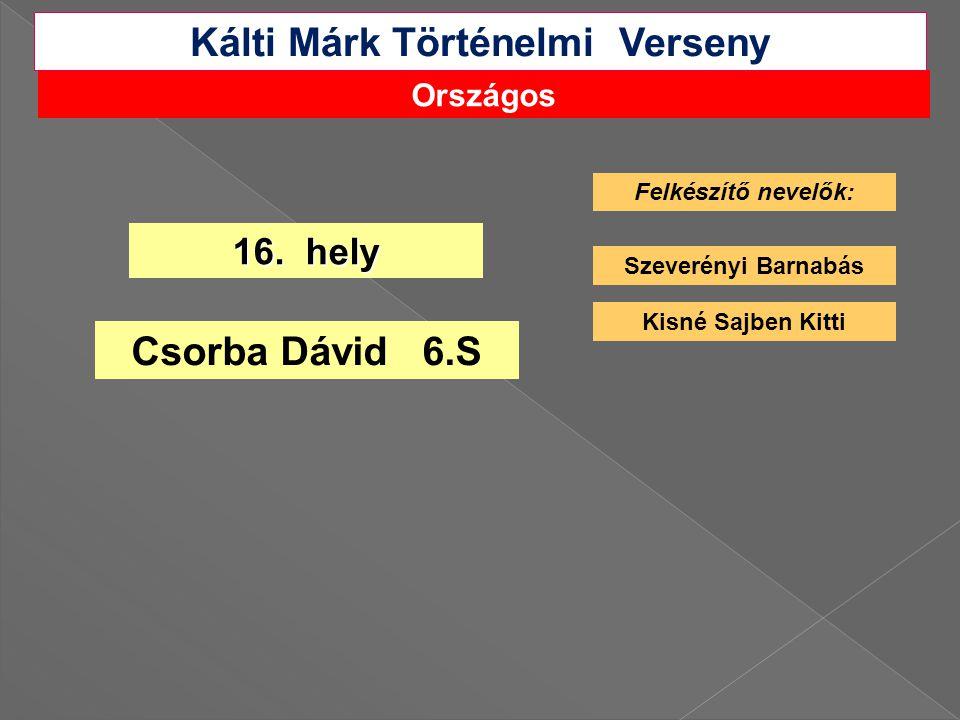 Országos Kálti Márk Történelmi Verseny 16.
