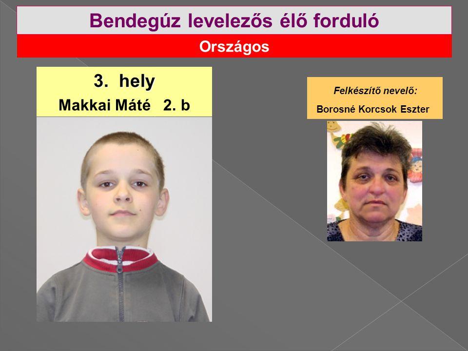 Országos Bendegúz levelezős élő forduló 3.hely Makkai Máté 2.