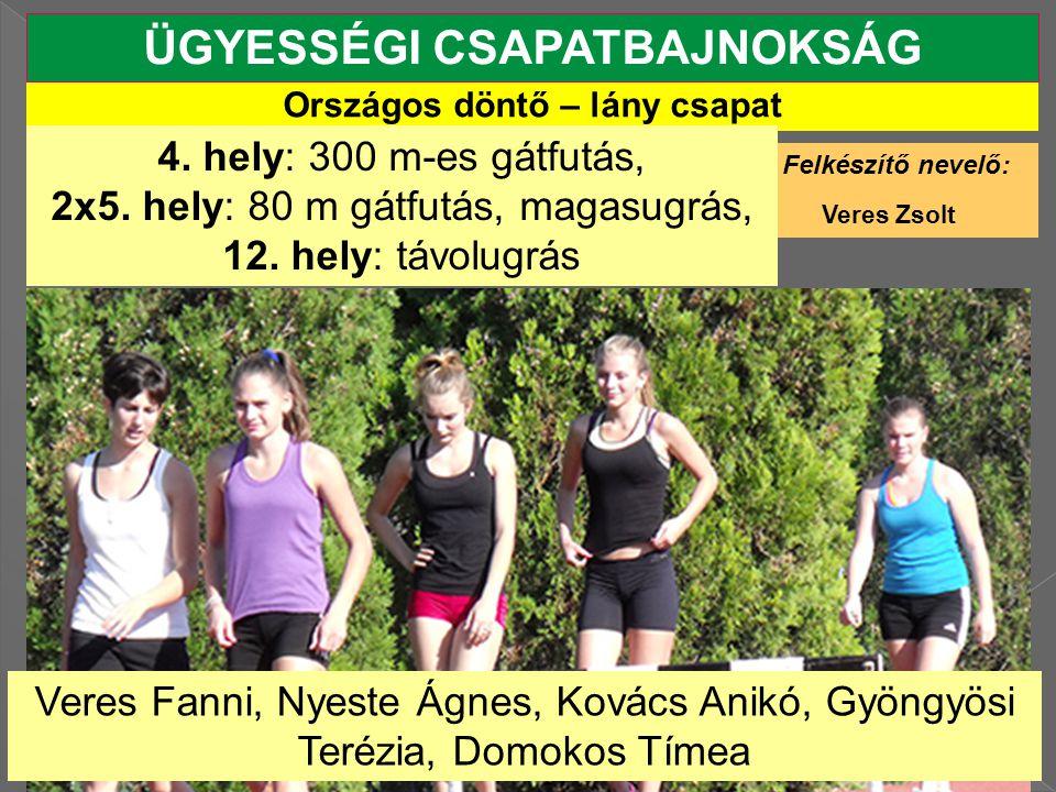 Országos döntő – lány csapat ÜGYESSÉGI CSAPATBAJNOKSÁG Felkészítő nevelő: Veres Zsolt 4.