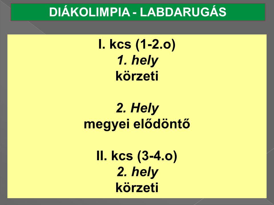 DIÁKOLIMPIA - LABDARUGÁS I.kcs (1-2.o) 1. hely körzeti 2.