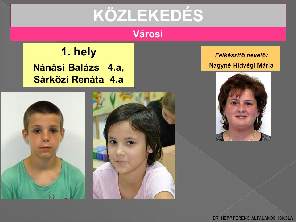 Városi KÖZLEKEDÉS Nánási Balázs 4.a, Sárközi Renáta 4.a 1.