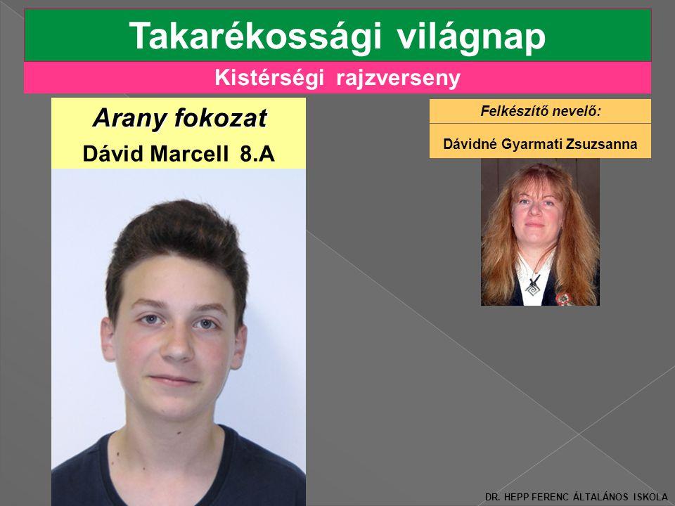 Kistérségi rajzverseny Takarékossági világnap Arany fokozat Dávid Marcell 8.A DR.