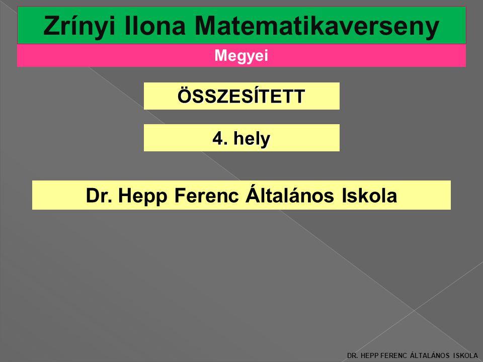 Megyei Zrínyi Ilona Matematikaverseny 4.hely Dr. Hepp Ferenc Általános Iskola DR.