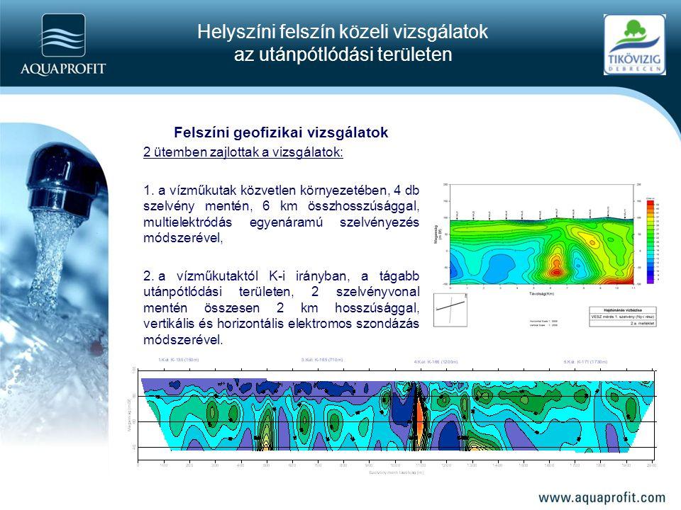 Felszíni geofizikai vizsgálatok 2 ütemben zajlottak a vizsgálatok: 1. a vízműkutak közvetlen környezetében, 4 db szelvény mentén, 6 km összhosszúságga