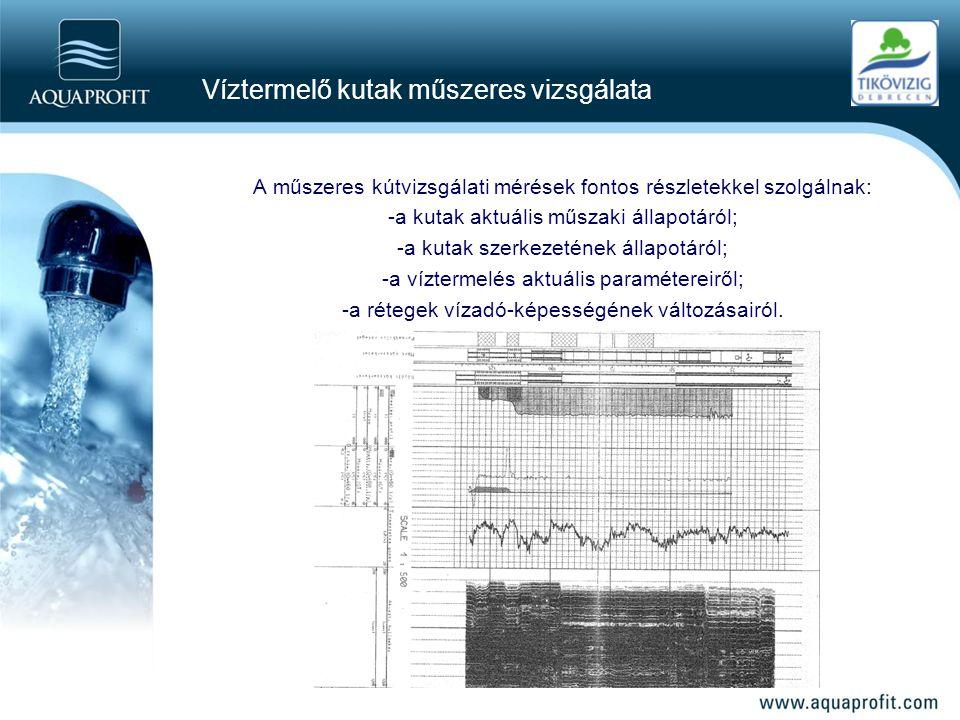 Víztermelő kutak műszeres vizsgálata A műszeres kútvizsgálati mérések fontos részletekkel szolgálnak: -a kutak aktuális műszaki állapotáról; -a kutak