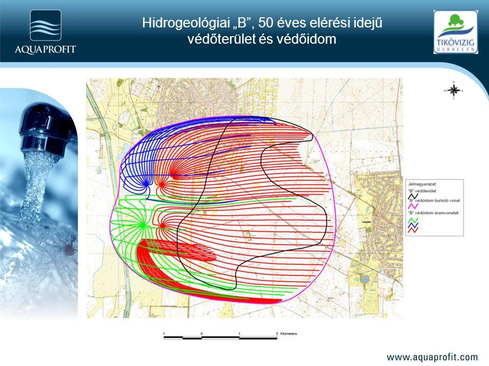 """Hidrogeológiai """"B"""", 50 éves elérési idejű védőterület és védőidom"""