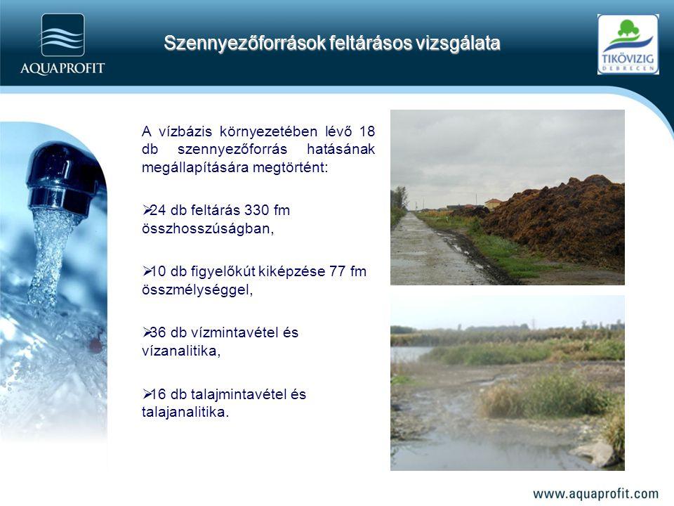 A vízbázis környezetében lévő 18 db szennyezőforrás hatásának megállapítására megtörtént:  24 db feltárás 330 fm összhosszúságban,  10 db figyelőkút