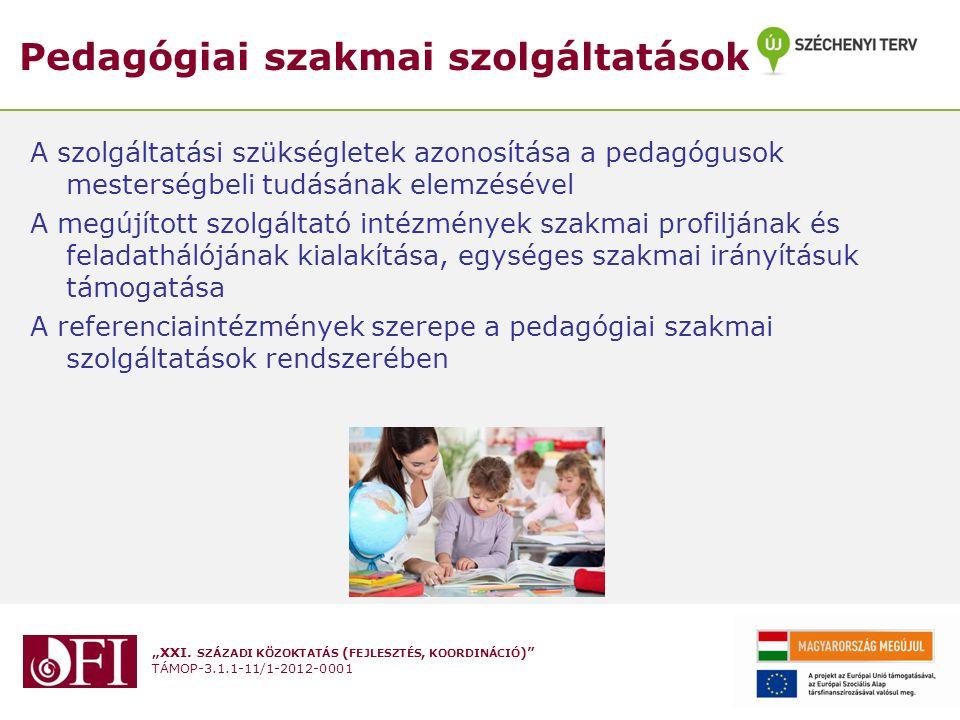 """""""XXI. SZÁZADI KÖZOKTATÁS ( FEJLESZTÉS, KOORDINÁCIÓ )"""" TÁMOP-3.1.1-11/1-2012-0001 Pedagógiai szakmai szolgáltatások A szolgáltatási szükségletek azonos"""