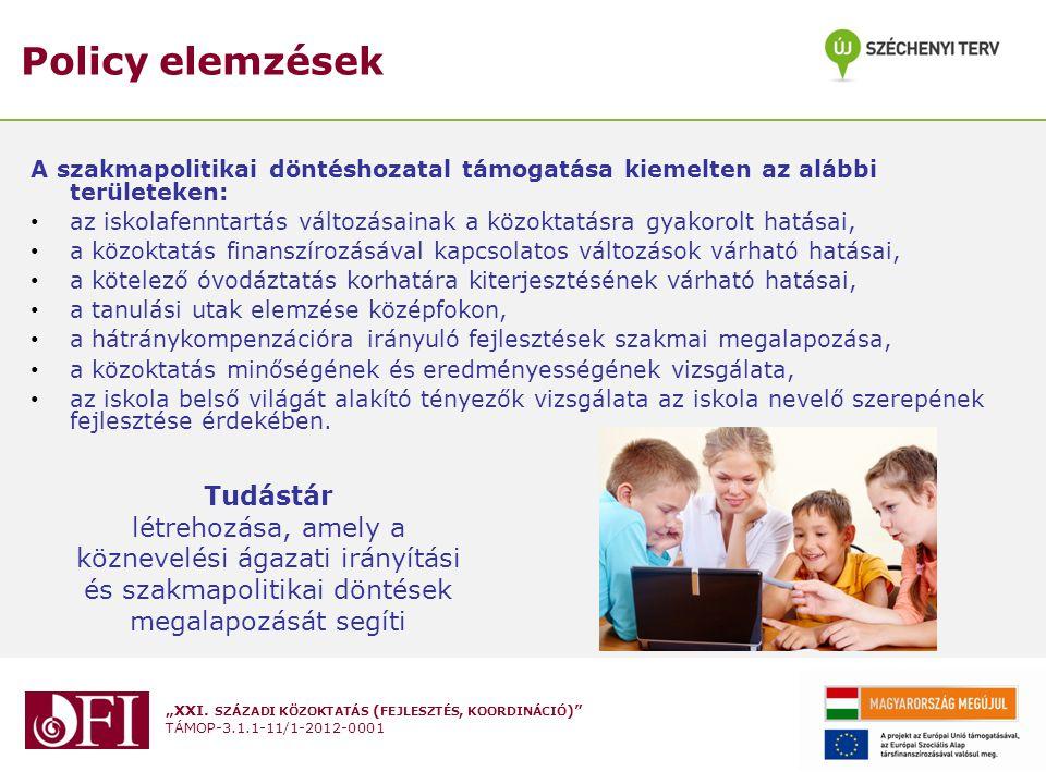 """""""XXI. SZÁZADI KÖZOKTATÁS ( FEJLESZTÉS, KOORDINÁCIÓ )"""" TÁMOP-3.1.1-11/1-2012-0001 Policy elemzések A szakmapolitikai döntéshozatal támogatása kiemelten"""