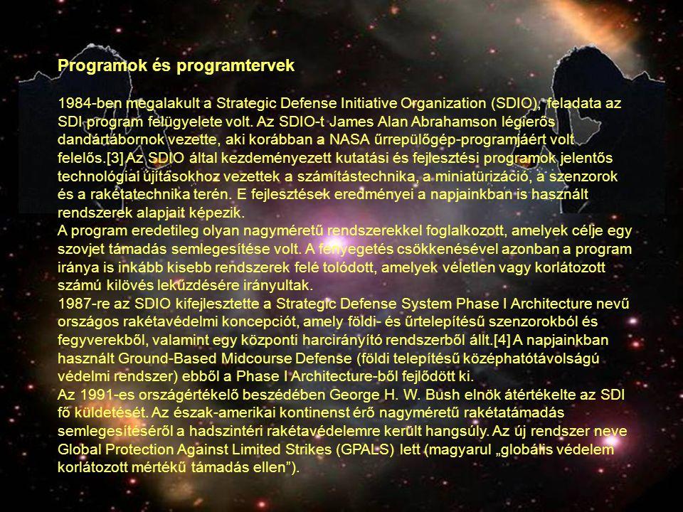 Programok és programtervek 1984-ben megalakult a Strategic Defense Initiative Organization (SDIO), feladata az SDI program felügyelete volt. Az SDIO-t