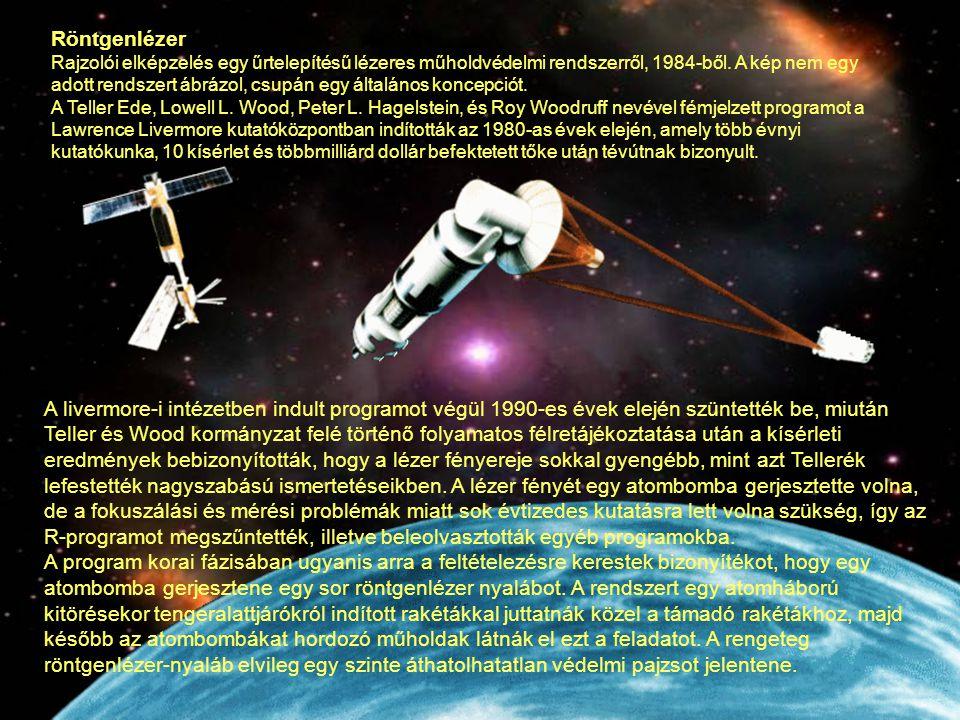Röntgenlézer Rajzolói elképzelés egy űrtelepítésű lézeres műholdvédelmi rendszerről, 1984-ből. A kép nem egy adott rendszert ábrázol, csupán egy által