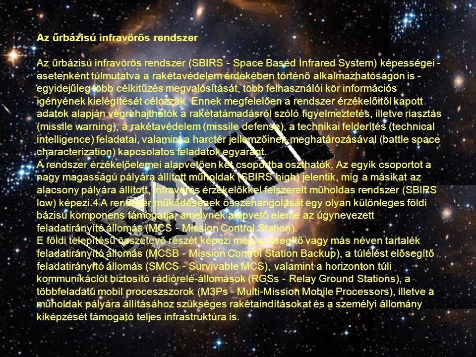 Az űrbázisú infravörös rendszer Az űrbázisú infravörös rendszer (SBIRS - Space Based Infrared System) képességei - esetenként túlmutatva a rakétavédel