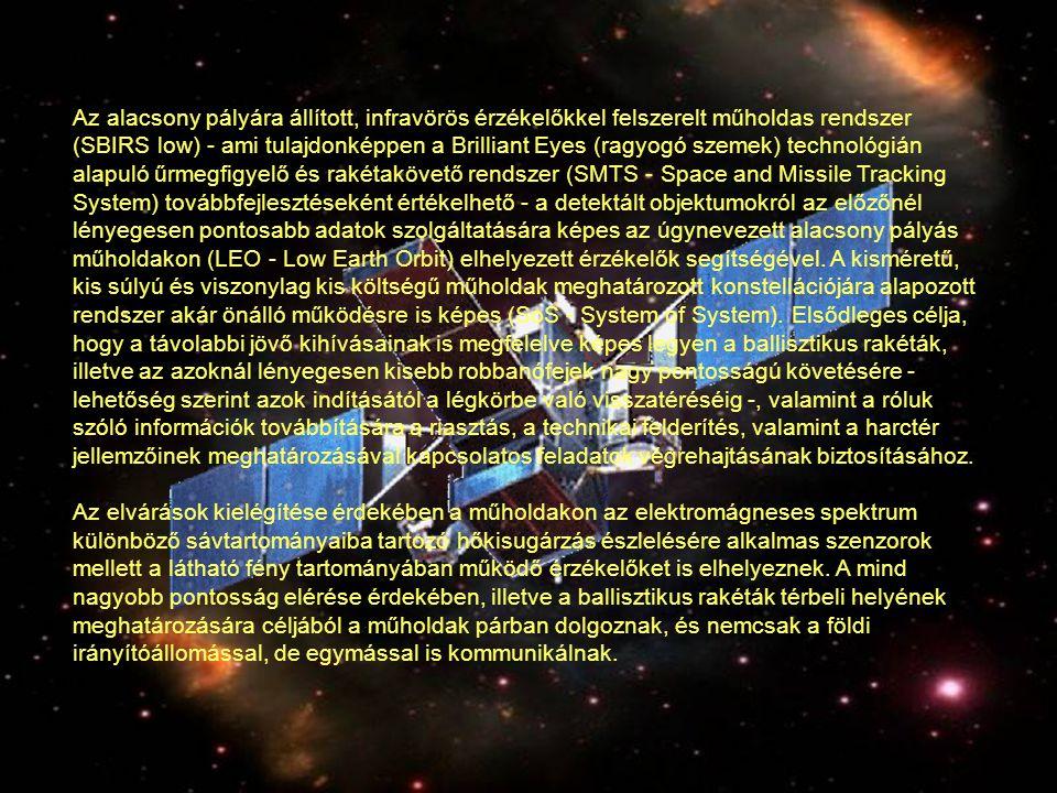 SBIRS low - a Brilliant Eyes (ragyogó szemek) technológián alapuló űrmegfigyelő. Az alacsony pályára állított, infravörös érzékelőkkel felszerelt műho