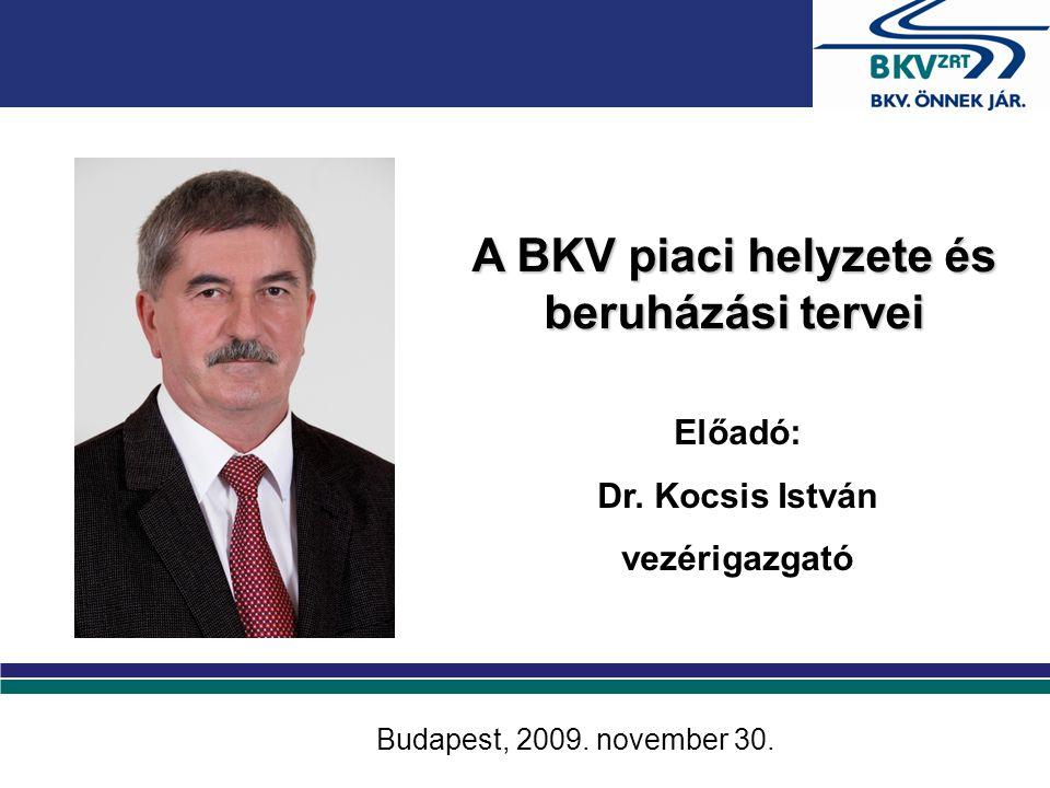 A BKV piaci helyzete és beruházási tervei Előadó: Dr.