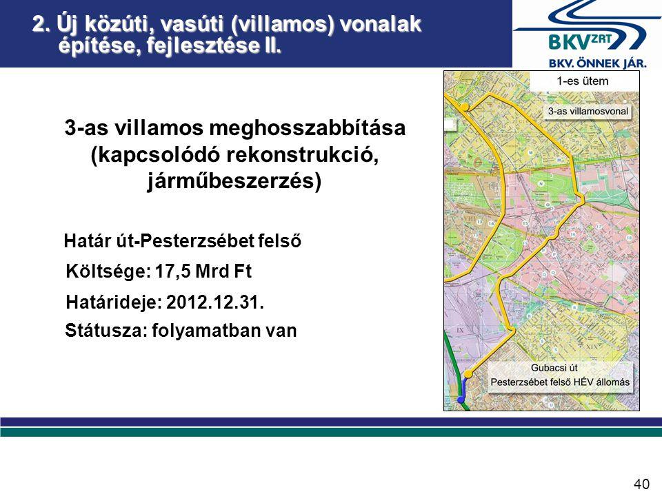 3-as villamos meghosszabbítása (kapcsolódó rekonstrukció, járműbeszerzés) Határ út-Pesterzsébet felső Költsége: 17,5 Mrd Ft Határideje: 2012.12.31.