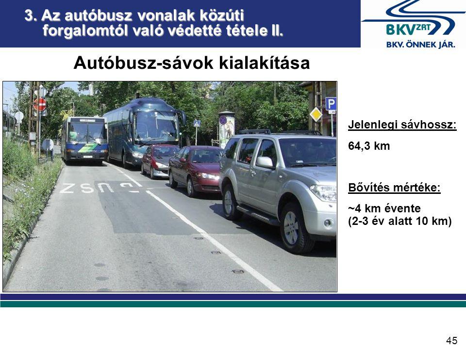 Autóbusz-sávok kialakítása Jelenlegi sávhossz: 64,3 km Bővítés mértéke: ~4 km évente (2-3 év alatt 10 km) 3.