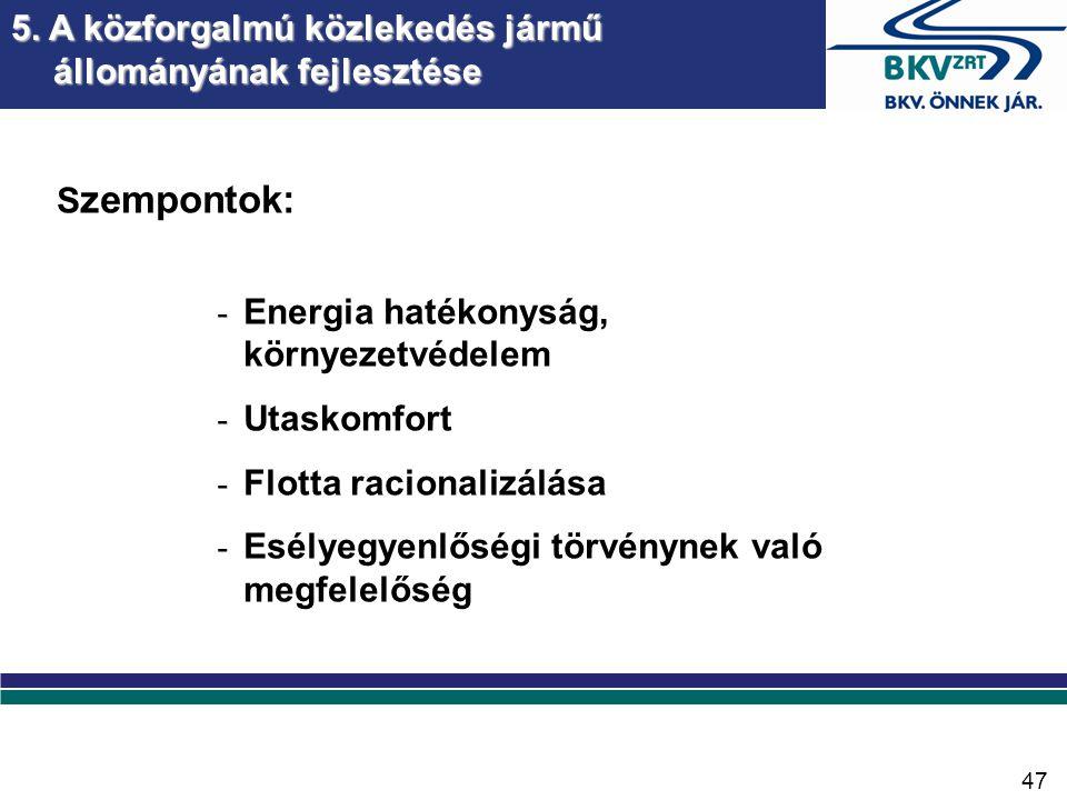 S zempontok: - Energia hatékonyság, környezetvédelem - Utaskomfort - Flotta racionalizálása - Esélyegyenlőségi törvénynek való megfelelőség 5.
