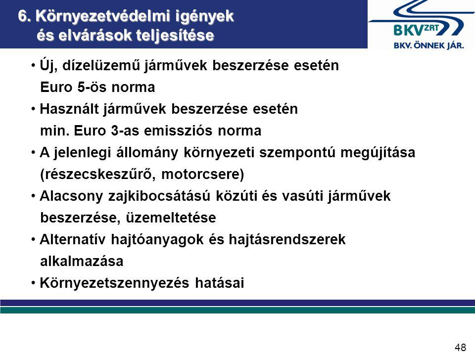 6. Környezetvédelmi igények és elvárások teljesítése • Új, dízelüzemű járművek beszerzése esetén Euro 5-ös norma • Használt járművek beszerzése esetén