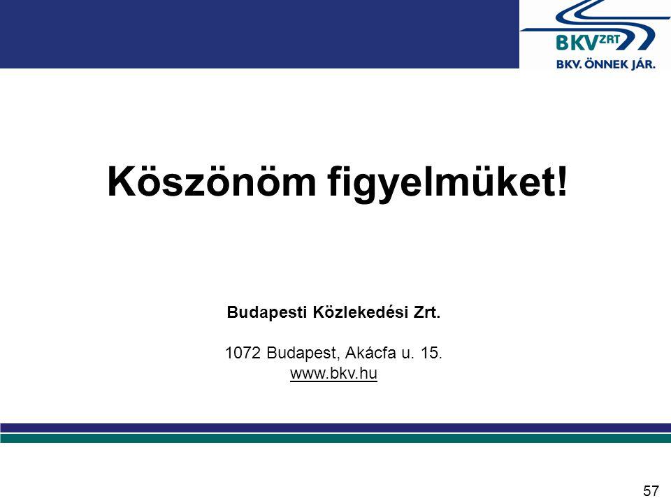 Köszönöm figyelmüket! Budapesti Közlekedési Zrt. 1072 Budapest, Akácfa u. 15. www.bkv.hu 57