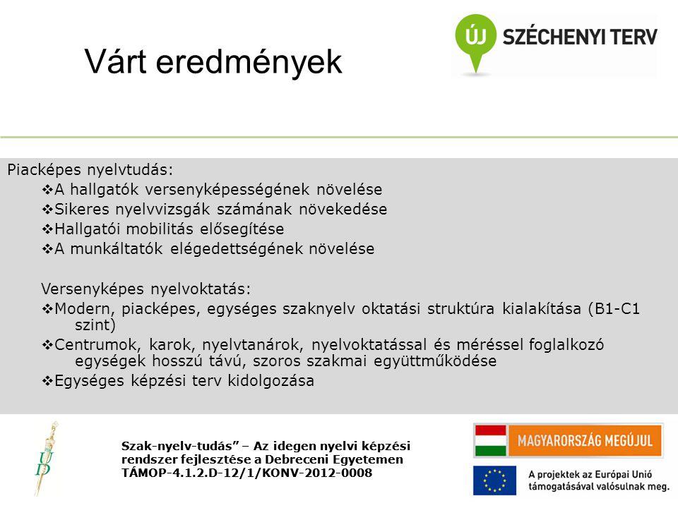 Nyitó rendezvény TÁMOP-4.1.2.D-12/1/KONV-2012-0008 Piacképes nyelvtudás:  A hallgatók versenyképességének növelése  Sikeres nyelvvizsgák számának növekedése  Hallgatói mobilitás elősegítése  A munkáltatók elégedettségének növelése Versenyképes nyelvoktatás:  Modern, piacképes, egységes szaknyelv oktatási struktúra kialakítása (B1-C1 szint)  Centrumok, karok, nyelvtanárok, nyelvoktatással és méréssel foglalkozó egységek hosszú távú, szoros szakmai együttműködése  Egységes képzési terv kidolgozása Várt eredmények Szak-nyelv-tudás – Az idegen nyelvi képzési rendszer fejlesztése a Debreceni Egyetemen TÁMOP-4.1.2.D-12/1/KONV-2012-0008