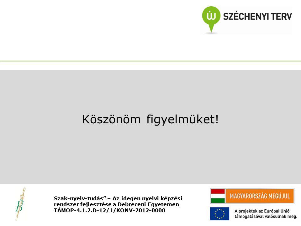 Nyitó rendezvény TÁMOP-4.1.2.D-12/1/KONV-2012-0008 Köszönöm figyelmüket.