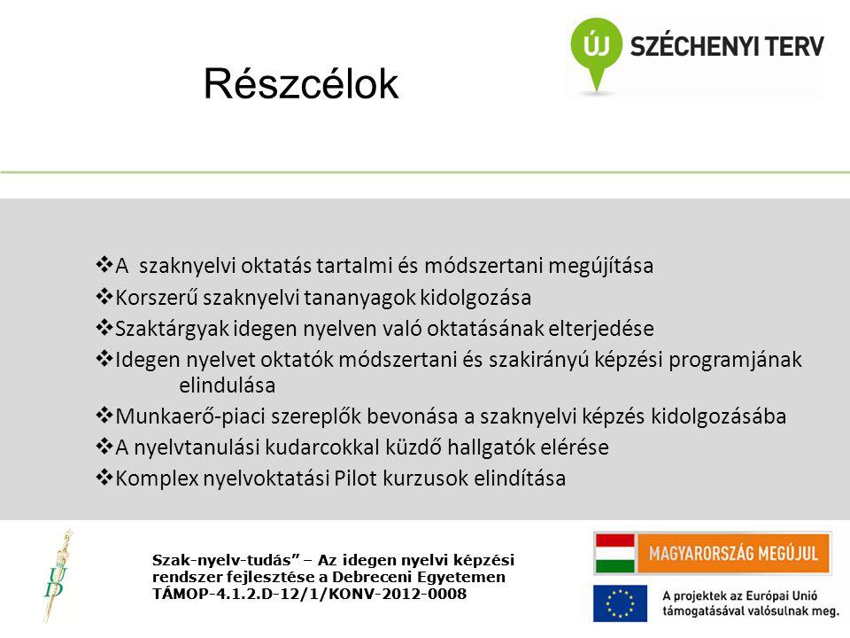 Nyitó rendezvény TÁMOP-4.1.2.D-12/1/KONV-2012-0008  A szaknyelvi oktatás tartalmi és módszertani megújítása  Korszerű szaknyelvi tananyagok kidolgozása  Szaktárgyak idegen nyelven való oktatásának elterjedése  Idegen nyelvet oktatók módszertani és szakirányú képzési programjának elindulása  Munkaerő-piaci szereplők bevonása a szaknyelvi képzés kidolgozásába  A nyelvtanulási kudarcokkal küzdő hallgatók elérése  Komplex nyelvoktatási Pilot kurzusok elindítása Részcélok Szak-nyelv-tudás – Az idegen nyelvi képzési rendszer fejlesztése a Debreceni Egyetemen TÁMOP-4.1.2.D-12/1/KONV-2012-0008