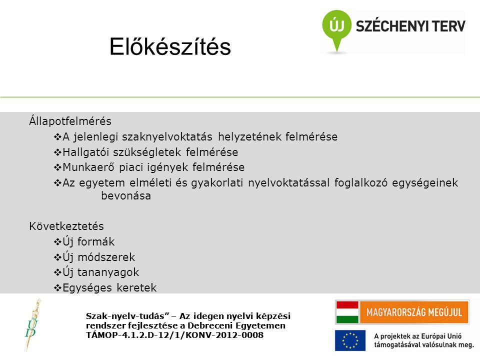 Nyitó rendezvény TÁMOP-4.1.2.D-12/1/KONV-2012-0008 Állapotfelmérés  A jelenlegi szaknyelvoktatás helyzetének felmérése  Hallgatói szükségletek felmérése  Munkaerő piaci igények felmérése  Az egyetem elméleti és gyakorlati nyelvoktatással foglalkozó egységeinek bevonása Következtetés  Új formák  Új módszerek  Új tananyagok  Egységes keretek Előkészítés Szak-nyelv-tudás – Az idegen nyelvi képzési rendszer fejlesztése a Debreceni Egyetemen TÁMOP-4.1.2.D-12/1/KONV-2012-0008