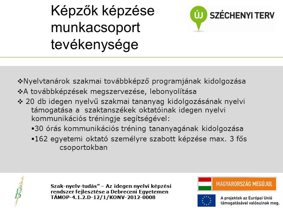 Nyitó rendezvény TÁMOP-4.1.2.D-12/1/KONV-2012-0008  Nyelvtanárok szakmai továbbképző programjának kidolgozása  A továbbképzések megszervezése, lebonyolítása  20 db idegen nyelvű szakmai tananyag kidolgozásának nyelvi támogatása a szaktanszékek oktatóinak idegen nyelvi kommunikációs tréningje segítségével:  30 órás kommunikációs tréning tananyagának kidolgozása  162 egyetemi oktató személyre szabott képzése max.