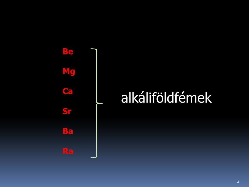 alkáliföldfémek 3 Be Mg Ca Sr Ba Ra