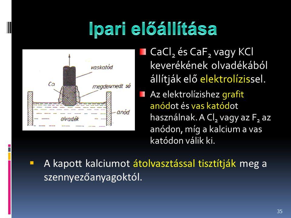 CaCl 2 és CaF 2 vagy KCl keverékének olvadékából állítják elő elektrolízissel. Az elektrolízishez grafit anódot és vas katódot használnak. A Cl 2 vagy
