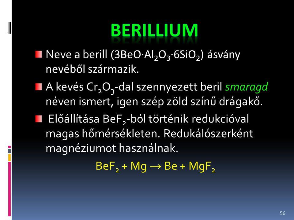 Neve a berill ( 3BeO·Al 2 O 3 ·6SiO 2 ) ásvány nevéből származik. A kevés Cr 2 O 3 -dal szennyezett beril smaragd néven ismert, igen szép zöld színű d