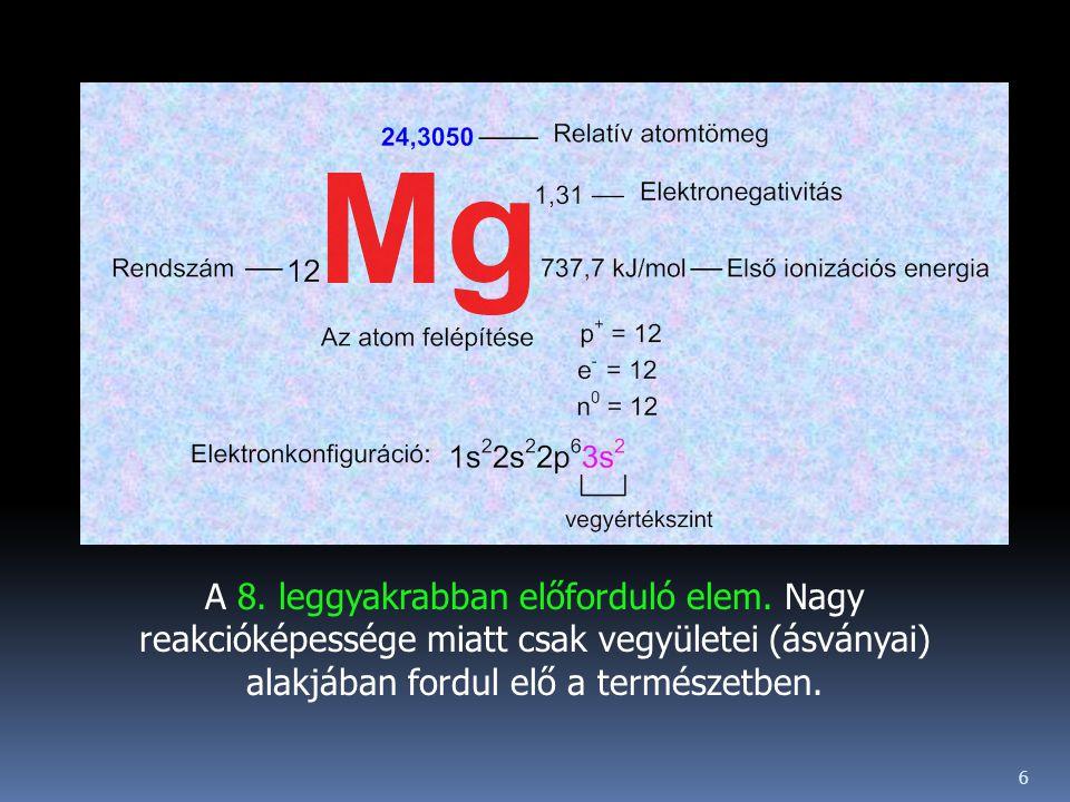 A 8. leggyakrabban előforduló elem. Nagy reakcióképessége miatt csak vegyületei (ásványai) alakjában fordul elő a természetben. 6