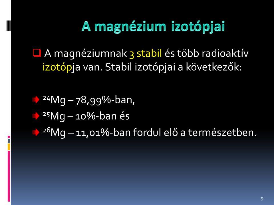  A magnéziumnak 3 stabil és több radioaktív izotópja van. Stabil izotópjai a következők: 24 Mg – 78,99%-ban, 25 Mg – 10%-ban és 26 Mg – 11,01%-ban fo