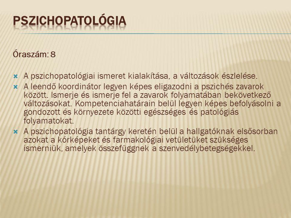 Óraszám: 8  A pszichopatológiai ismeret kialakítása, a változások észlelése.  A leendő koordinátor legyen képes eligazodni a pszichés zavarok között