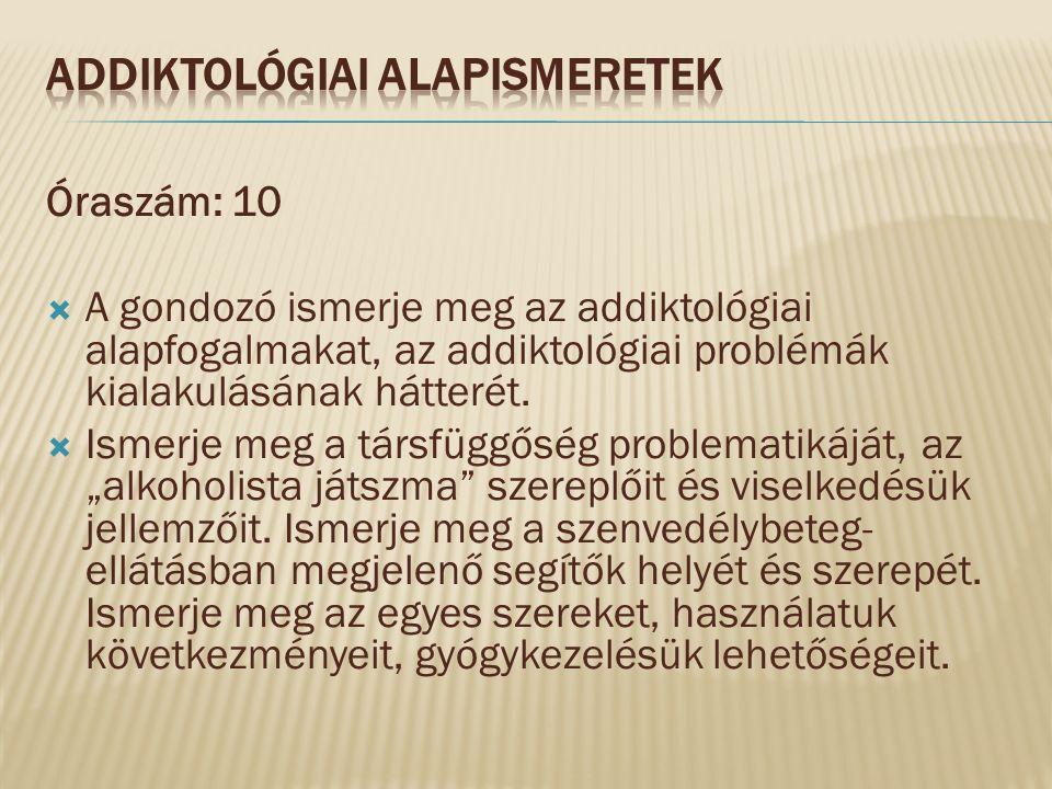 Óraszám: 10  A gondozó ismerje meg az addiktológiai alapfogalmakat, az addiktológiai problémák kialakulásának hátterét.  Ismerje meg a társfüggőség